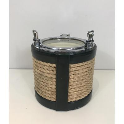 In The Style Of Jacques Adnet. Unusual Chrome, Leather And Rope Ice Bucket. French. Circa 1950