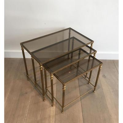 Neoclassical Nesting Tables Set Brass.