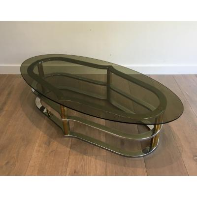 Design Coffee Table In Golden Brass And Chrome;