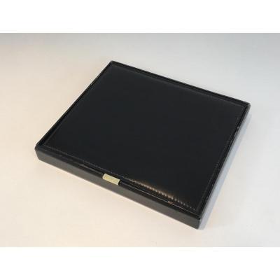 Grande Boîte Range-documents En Cuir Noir Et Laiton.