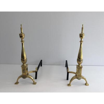 Paire De Chenets Néoclassiques En Bronze.