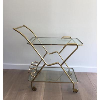 Table Roulante Design Italienne En Laiton Et Verres Gravés.