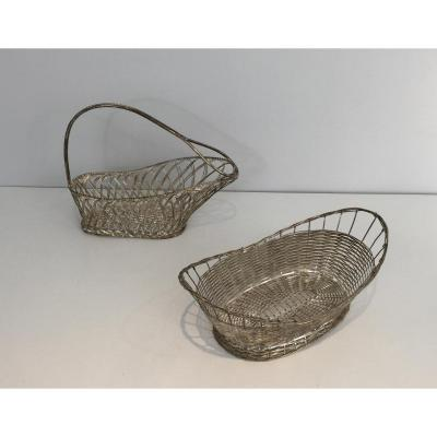 Decanter And Basket In Slats Of Silver Metal.