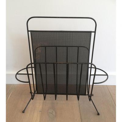 Porte-revues Design En Métal Laqué Noir Et Métal Perforé. Vers 1950