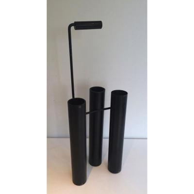 Porte-parapluies Design En Métal Laqué Noir. Vers 1970