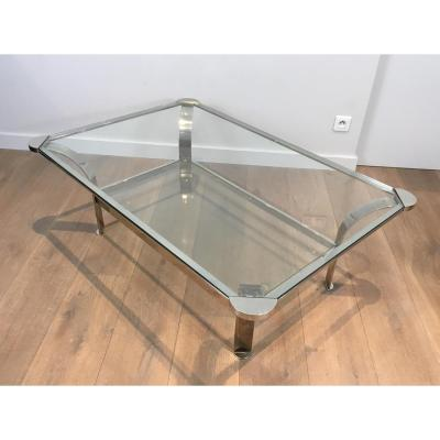 Important Chrome Design Coffee Table And Glass Trays. Around 1970
