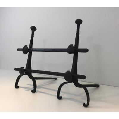 Pair Of Wrought Iron Andirons With Double Bars. Around 1900
