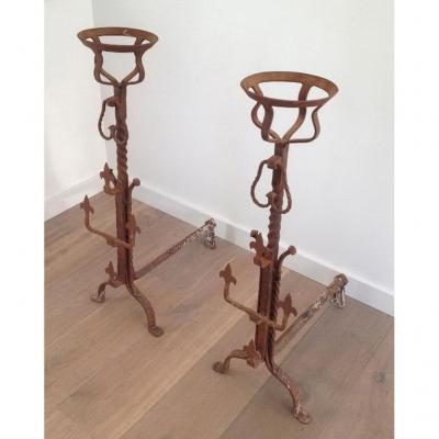 Pair Of Nice Tall Wrought Iron Andirons. Circa 1900