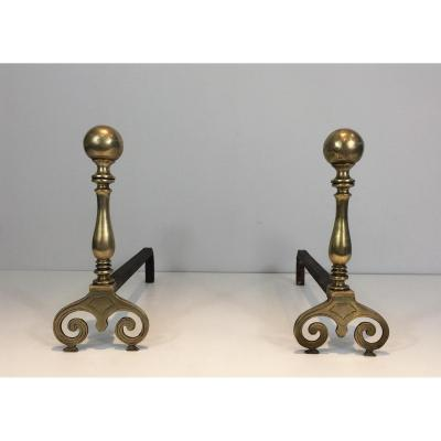 Pair Of Andirons In Bronze And Wrought Iron. 18th Century