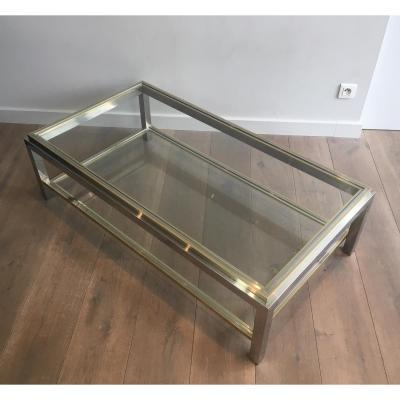 In The Style Of Willy Rizzo. Chrome And Brass Coffee Table. French. Circa 1970