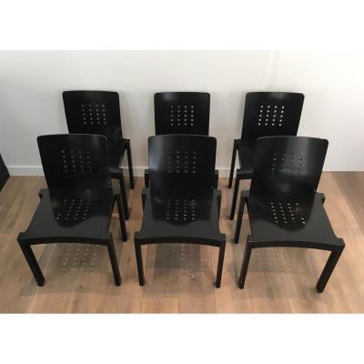 Thonet. Suite De 6 Chaises Design En Bois Laqué Noir.