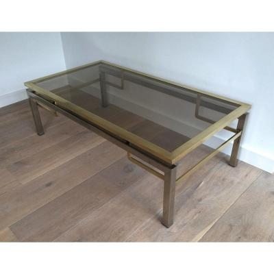 Guy Lefèvre For Jansen House. Coffee Table Brushed Steel And Brass. Around 1970
