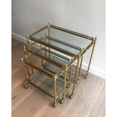 Attributed To Maison Bagués. Set Of 3 Neoclassical Brass Nesting Tables On Casters. French
