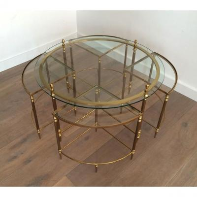 Maison Bagués. Neoclassical Round Brass Coffee Table With 4 Nesting Tables. French. Circa 1970