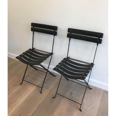 Pair Of Black Leather And Metal Chairs. Circa 1950
