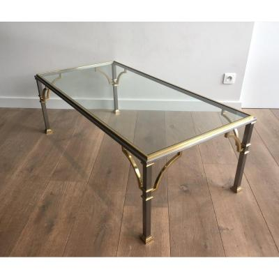 In The Style Of Maison Jansen. Neoclassical Brushed Steel And Brass Coffee Table. French