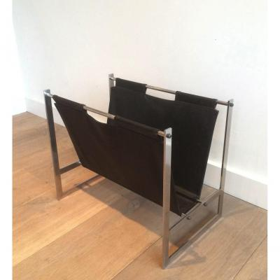In The Style Of Poul Kjaerholm. Interesting Brished Steel And Leather Magazine Rack. Circa 1950