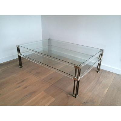 Large Modernist Chrome And Lucite Coffee Table. French. Circa 1970