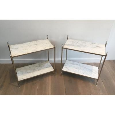 In The Style Of Maison Jansen, Rare Pair Of Silvered Side Tables With White Marble Tops; French