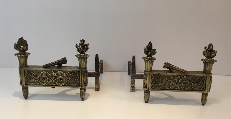 Paire De Chenets d'Epoque Empire En Bronze. Vers 1850-photo-2