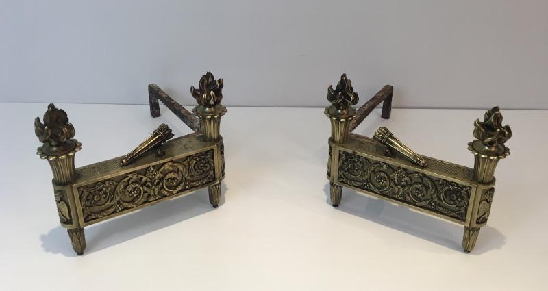 Paire De Chenets d'Epoque Empire En Bronze. Vers 1850-photo-4