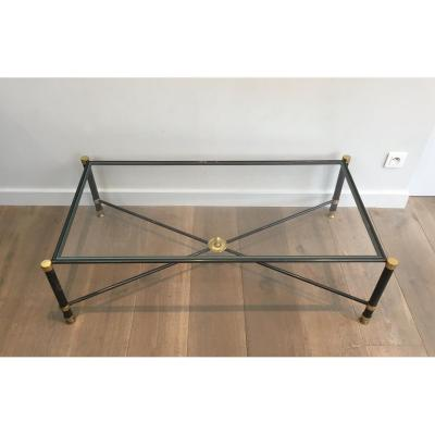 Guy Lefevre For Maison Jansen. Neoclassical Style Gun Metal And Brass Coffee Table With Glass T
