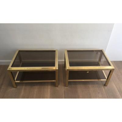 <strong>In the Style of Willy Rizzo. Pair of Large Brass Side Tables with Smoked Glass. Circa 1970</strong>