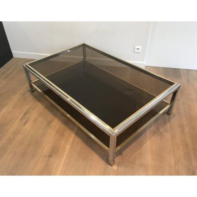 Attributed To Willy Rizzo. Large Chrome And Brass Coffee Table With Smoked Glass. Circa 1970