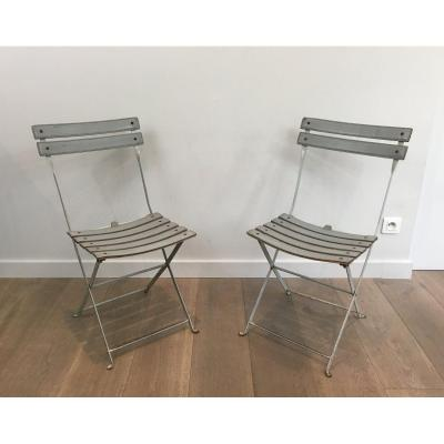 Pair Of Grey Leather And White Lacquered Metal Folding Chairs. Italian. Circa 1970