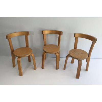 Set Of 3 Children Chairs. Circa 1970