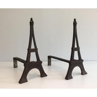 Very Rare Eiffel Tower Cast Iron Andirons. French. Circa 1900
