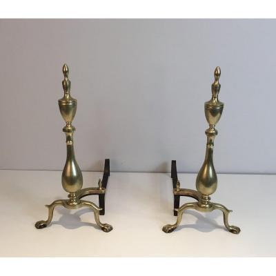 Paire De Chenets Néo-gothiques En Bronze Et Fer Forgé. XIXème Siècle
