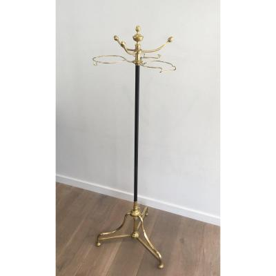 Unusual Tall Black Lacquered And Brass Coat And Hat Rack. French. Circa 1900