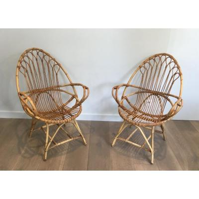 Pair Of Very Nice Egg Shaped Rattan Armchairs. French. Circa 1950