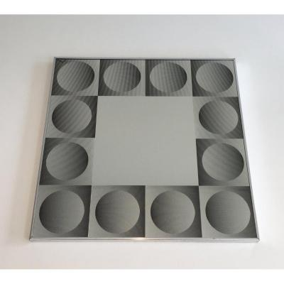 In The Style Of Victor Vasarely. Optique Art Mirror (damaged In A Corner). Vers 1970
