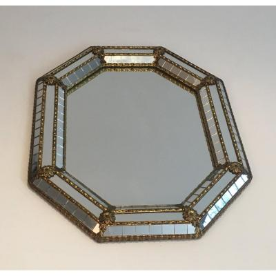 Octogonal Brass Garlands And Flowers And Mirror Faceted Small Mirror. Circa 1970