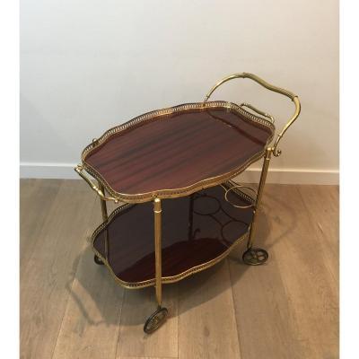 Table Roulante De Style Néoclassique En Laiton Et Acajou. Travail Français. Vers 1940