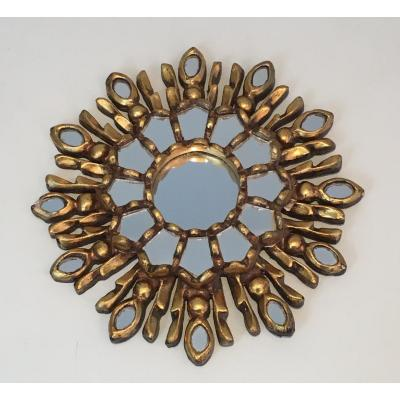 Very Small Gilt Wood Sunburst Mirror. Italian. Circa 1970