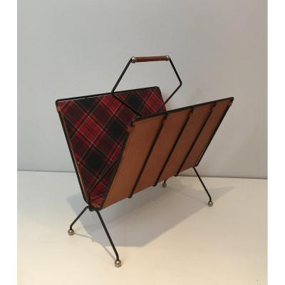 Magazine Rack In Black Lacquered Metal, Leather And Checkered Fabrics. French Work. Around 1950