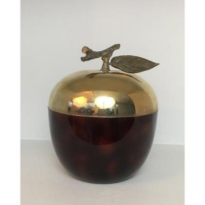 Red Lucite, Gilt Metal And Plastique Apple Ice Bucket. French. Circa 1970