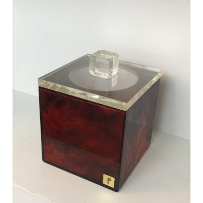 Red And Clear Lucite Ice Bucket. Signed P. French. Circa 1970