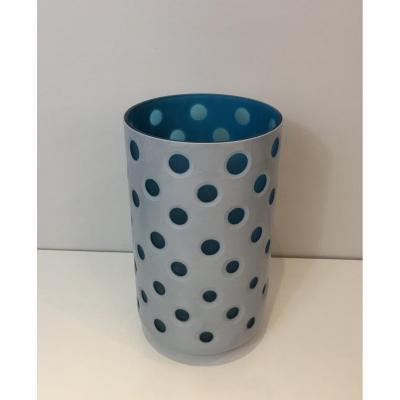 Vase Design en Verre Overlay. Italie. Circa 1970