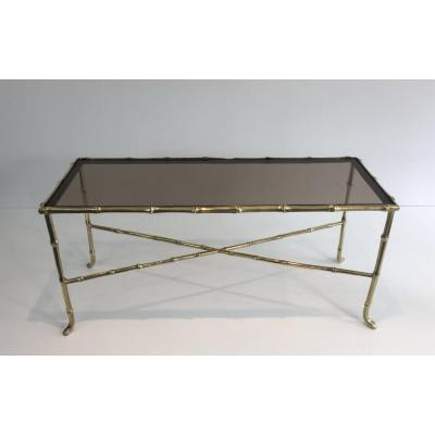 Maison Bagués. Small Faux-bamboo Bronze Coffee Table With Smoked Glass Shelf. French. Circa 194