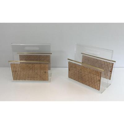 In The Style Of Christian Dior And Gabriella Crespi. Pair Of Lucite, Brass And Cane Magazine Racks