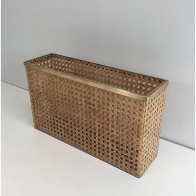 In The Style Of Christian Dior And Gabriella Crespi. Lucite,  Cane And Brass Magazine Rack
