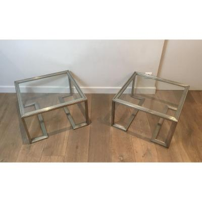 Pair Of Design Brushed Steel Side Tables. French. Circa 1970