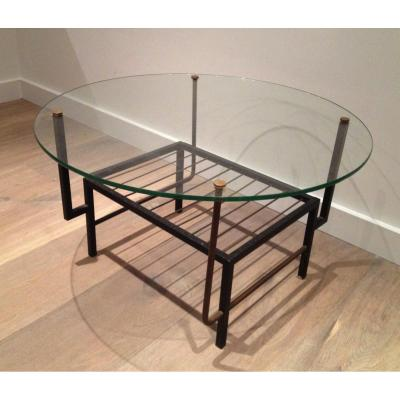 In The Style Of Mathieu Matégot. Black Lacquered Metal And Brass Small Coffee Table With Glass