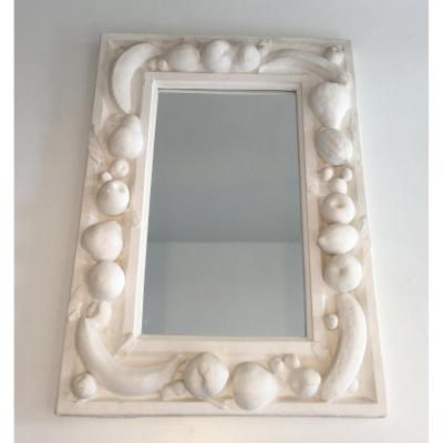 Unique Decorative Plaster Mirror With Fruits Decors. French. Circa 1970