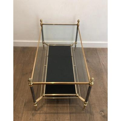 Maison Jansen. Neoclassical Style Brushed Steel And Brass Coffee Table With Black Leather Shelf