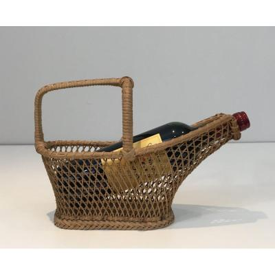 Rattan Bottle Holder. French. Circa 1970